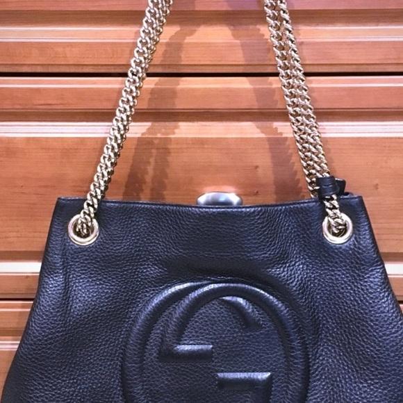 0d6128bbaf28 Gucci Bags   Soho Black Leather Chain Strap Bag   Poshmark